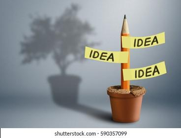 Idea creative concept, pencil with tree shadow