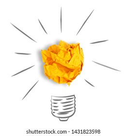 Idea with crumpled yellow orange paper ball, lightbulb on white background isolation .Creative concept