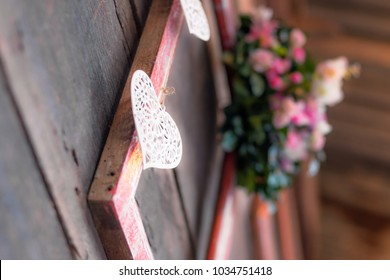 Idea to decorate wedding or romantic event with frames, flowers in wood style