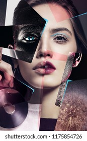 Idea, fashion, make up. Composition of women portraits with large earrings and body art