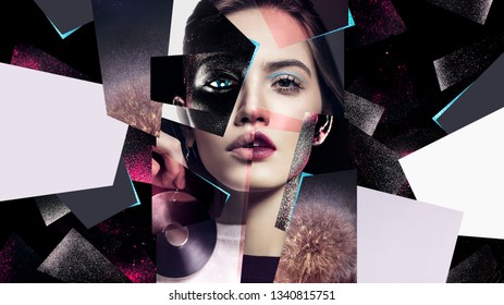 Idea, fashion, make up. Composition of women portraits with earrings and black body art