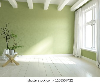 Idea of a green empty scandinavian room interior with vases on the wooden floor and large wall and white landscape in window with curtains. Home nordic interior. 3D illustration
