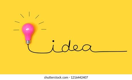 Idea hand writing text with a light bulb