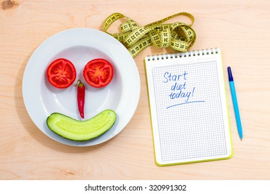 The idea of a healthy lifestyle. Start diet today