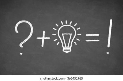 idea of incandescent light bulb drawn on black chalkboard. concept