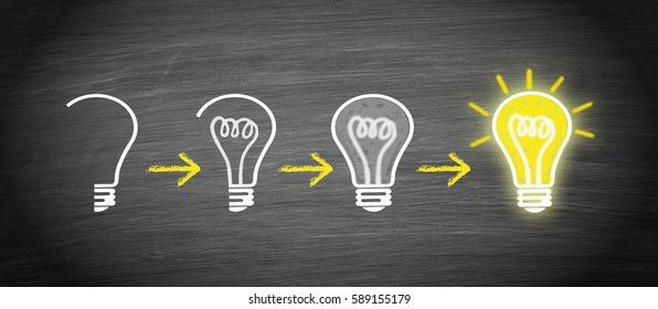 Idea, Innovation and Creativity light bulb concept - step by step forward to achieve powerful results