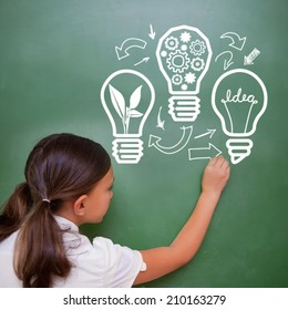 Idea and innovation graphic against cute pupil writing on chalkboard