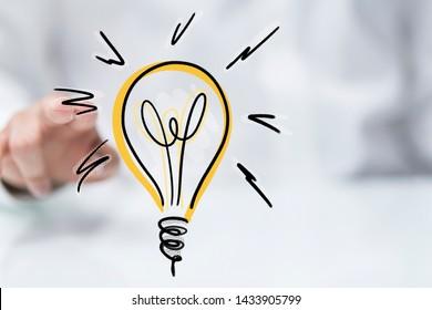 idea lamp concept in hand