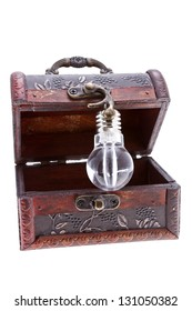 Idea lamp inside of a treasure chest isolated on white/Treasure chest with an idea