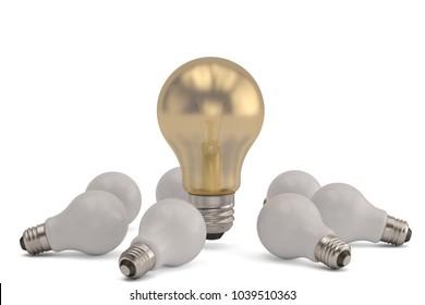 Idea light bulb on white background. 3D illustration.
