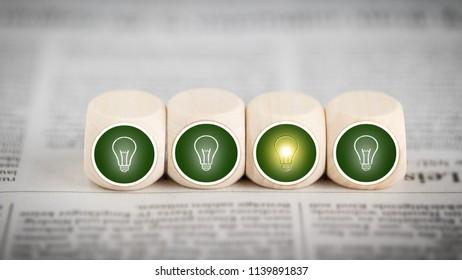 Idea - lightbulb icons on cubes