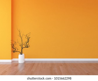 Idea of a orange empty scandinavian room interior with vase on the wooden floor and large wall and white landscape in window. Home nordic interior. 3D illustration