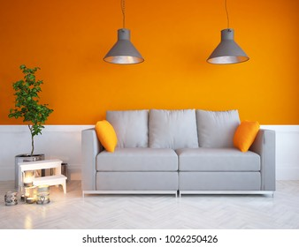 Idea of a orange scandinavian living room interior with sofa, vases on the floor and large wall and white landscape in window. Home nordic interior. 3D illustration