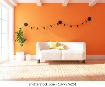Idea of a orange scandinavian living room interior with sofa, vases on the wooden floor and decor on the large wall and white landscape in window. Home nordic interior. 3D illustration