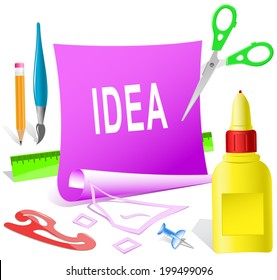 Idea. Paper template. Raster illustration.