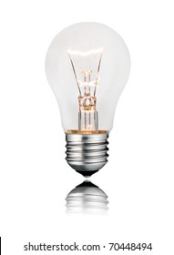 Idea and Solution - Glowing Lightbulb Isolated on White Background. Photo of Ordinary Switched On Lightbulb Over White