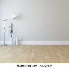 Idea of white empty room with vintage wooden floor and vases and lamp and white landscape in window. Scandinavian interior design. 3D illustration