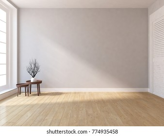 Idea of white empty room with wardrobe and white landscape in large window. Scandinavian interior design. 3D illustration