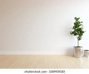 Idea of a white empty scandinavian room interior with plant in vase on the woonde floor and large wall and white landscape in window. Home nordic interior. 3D illustration