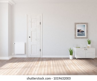 Idea of a white empty scandinavian room interior with dresser with plants on the wooden floor and picture on the large wall and white landscape in window. Home nordic interior. 3D illustration