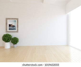 Idea of a white empty scandinavian room interior with plants in vases on the wooden floor and  picture on the large wall and white landscape in window. Home nordic interior. 3D illustration
