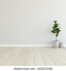 Idea of a white empty scandinavian room interior with plant in vases on the wooden floor and large wall and white landscape in window. Home nordic interior. 3D illustration