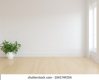 Idea of a white empty scandinavian room interior with planat in vase on the wooden floor and large wall and white landscape in window. Home nordic interior. 3D illustration