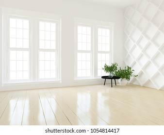 Idea of a white empty scandinavian room interior with plants in vases on the large wall and white landscape in windows. Interior of a home nordic background. 3D illustration