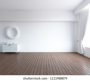 Idea of a white empty scandinavian room interior with dresser on the wooden floor and large wall and white landscape in window with curtains. Home nordic interior. 3D illustration