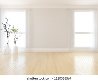 Idea of a white empty scandinavian room interior with vases on the wooden floor and large wall and white landscape in windows. Home nordic interior. 3D illustration