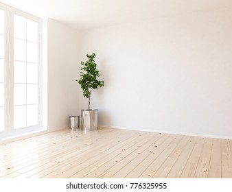 Idea of a white empty scandinavian room interior with vintage wooden floor and white landscape in large window. Nordic home interior design. 3D illustration