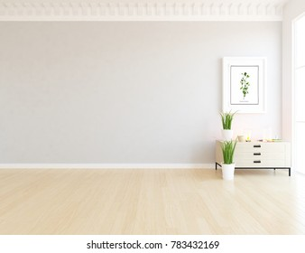 Idea of a white empty scandinavian room interior with dresser, picture on the wall and white landscape in window. Home nordic interior. 3D illustration