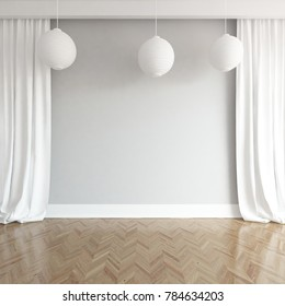 Idea of a white empty scandinavian room interior with curtains on the wall and white landscape in window. Home nordic interior. 3D illustration