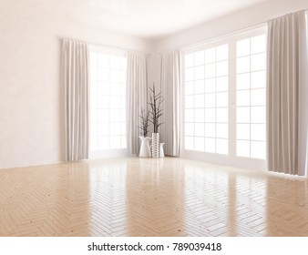 Idea of a white empty scandinavian room interior with vases on the wooden floor and white landscape in windows with curtains. Home nordic interior. 3D illustration