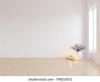 Idea of a white empty scandinavian room interior with large wall and white landscape in window. Home nordic interior. 3D illustration