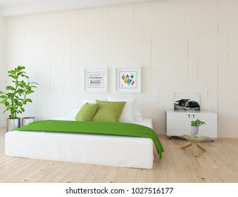 Idea of a white scandianvian bedroom interior with large comfortable bed and dresser with pictures on the wall and white landscape in window. Home nordic interior. 3D illustration