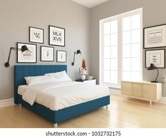 Idea of a white scandinavian bedroom interior with blue bed, dresser on the floor and pictures on the large wall and white landscape in window. Home nordic interior. 3D illustration