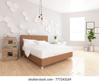 Idea of a white scandinavian bedroom interior with large beige bed with decor on large wall. Nordic home interior. 3D illustration