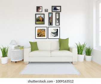 Idea of a white scandinavian living room interior with sofa, plants in vases and pictures on the large wall and white landscape in window. Home nordic interior. 3D illustration