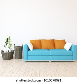 Idea of a white scandinavian living room interior with blue comfortable sofa, plants in vases on the wooden floor and large wall and white landscape in window. Home nordic interior. 3D illustration