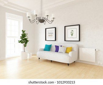 Idea of a white scandinavian living room interior with sofa, plants in vases on the wooden floor and pictures on the large wall and white landscape in window. Home nordic interior. 3D illustration