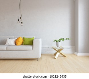Idea of a white scandinavian living room interior with comfortable sofa, table with plant and large wall and white landscape in window. Home nordic interior. 3D illustration