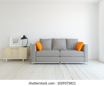 Idea of a white scandinavian living room interior with sofa, dresser on the wooden floor and large wall and white landscape in window. Home nordic interior. 3D illustration