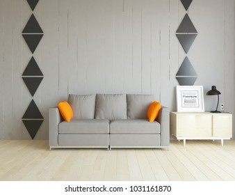 Idea of a white scandinavian living room interior with sofa, dresser and decor on the large wall and white landscape in window. Home nordic interior. 3D illustration