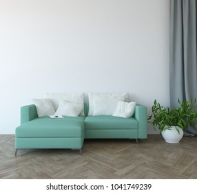 Idea of a white scandinavian living room interior with sofa, plant in vase on the wooden floor and decor on the large wall and white landscape in window. Home nordic interior. 3D illustration