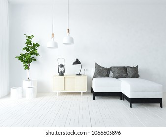 Idea of a white scandinavian living room interior with sofa, resser, vases on the wooden floor and large wall and white landscape in window. Home nordic interior. 3D illsutration
