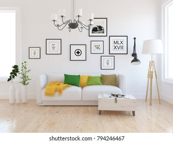 Idea of a white scandinavian living room interior with sofa, table, vases, lamps and pictures on the large wall and white landscape in window. Home nordic interior. 3D illustration