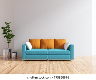 Idea of a white scandinavian living room interior with blue comfortable sofa and vases on the wooden floor and large wall and white landscape in window. Home nordic interior. 3D illustration