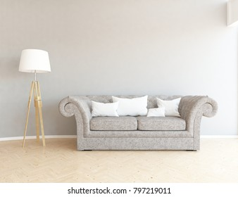 Idea of a white scandinavian living room interior with classic comfortable sofa on the wooden floor and large wall and white landscape in window. Home nordic interior. 3D illustration