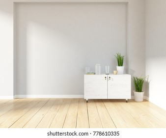 Idea of a white scandinavian room interior with dresser and vintage wooden floor. Nordic home interior.3D illustration